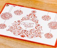 Stunning Set Of 4 Mirrored Glass Christmas Design Placemats